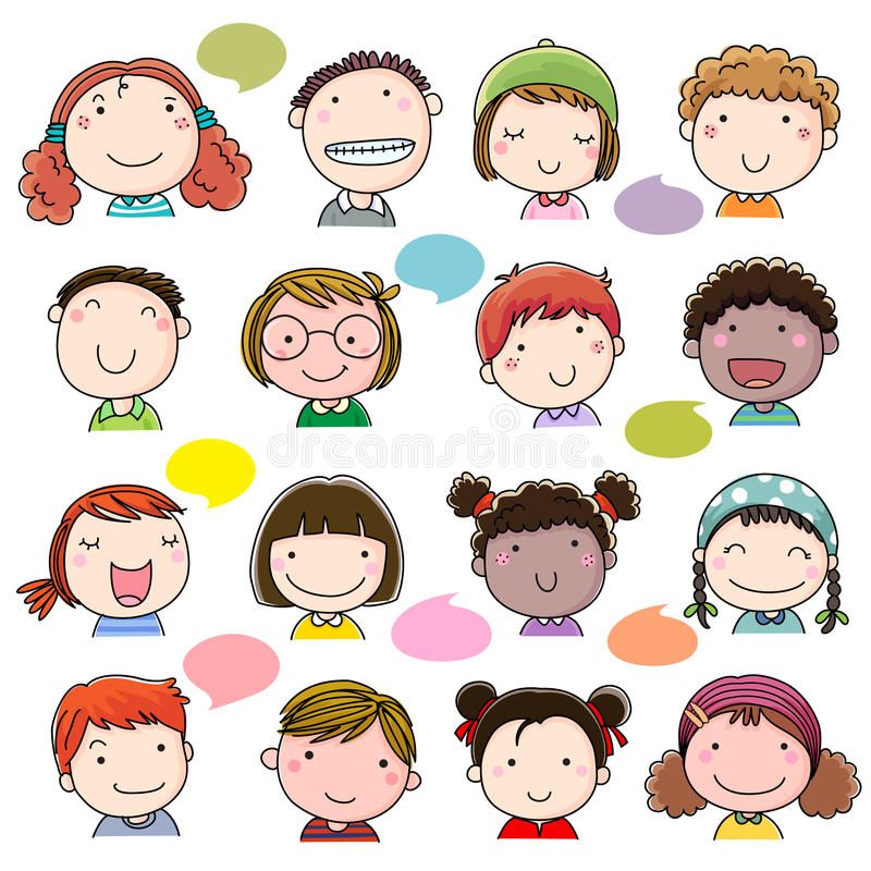 Hand Drawn Children Faces Set Stock Vector Image 63274908