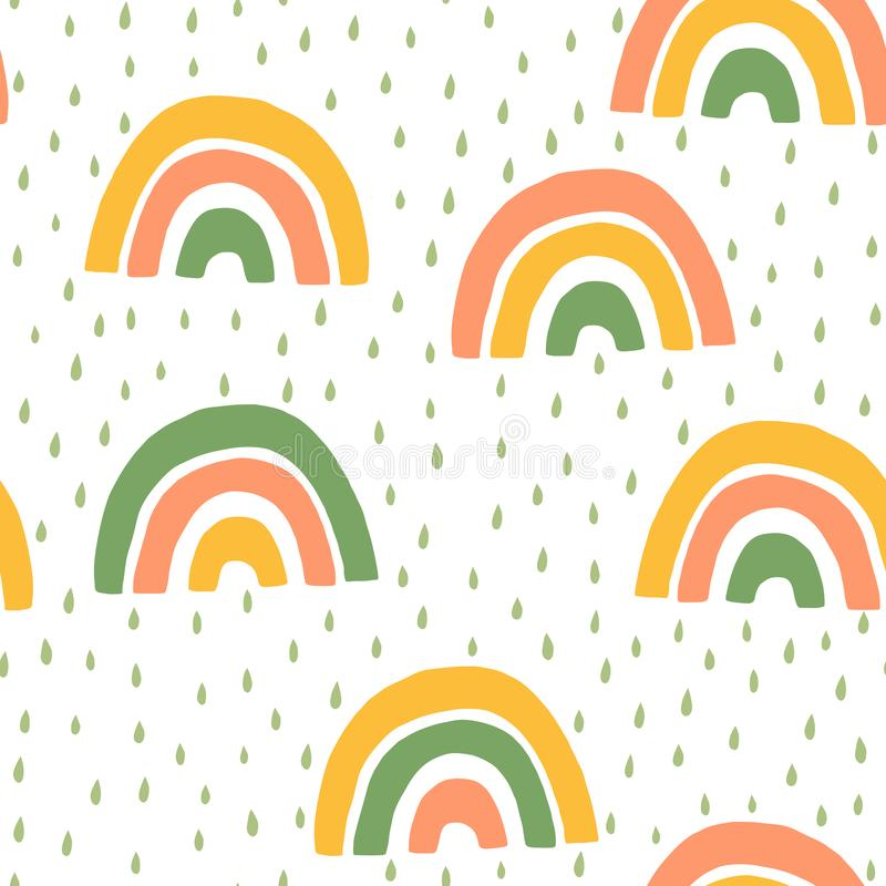Hand Drawn Children`s Cute rainbow and Rain Seamless Pattern. Simple Vector Background in Scandinavian Style. Hand Drawn Baby Cute rainbow and Rain Seamless vector illustration