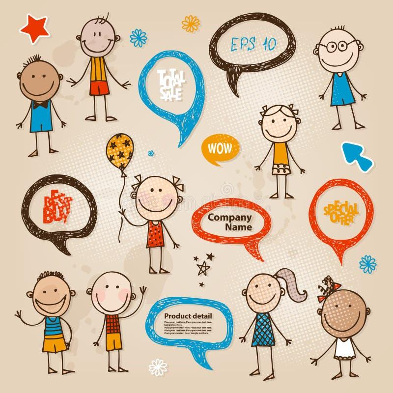 Hand-drawn children speech bubbles set