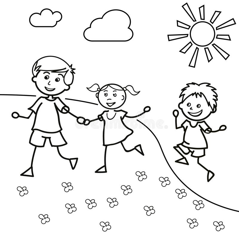 Hand drawn children walk on the lawn in the summer. Two little boys and one girl, vector illustration royalty free illustration