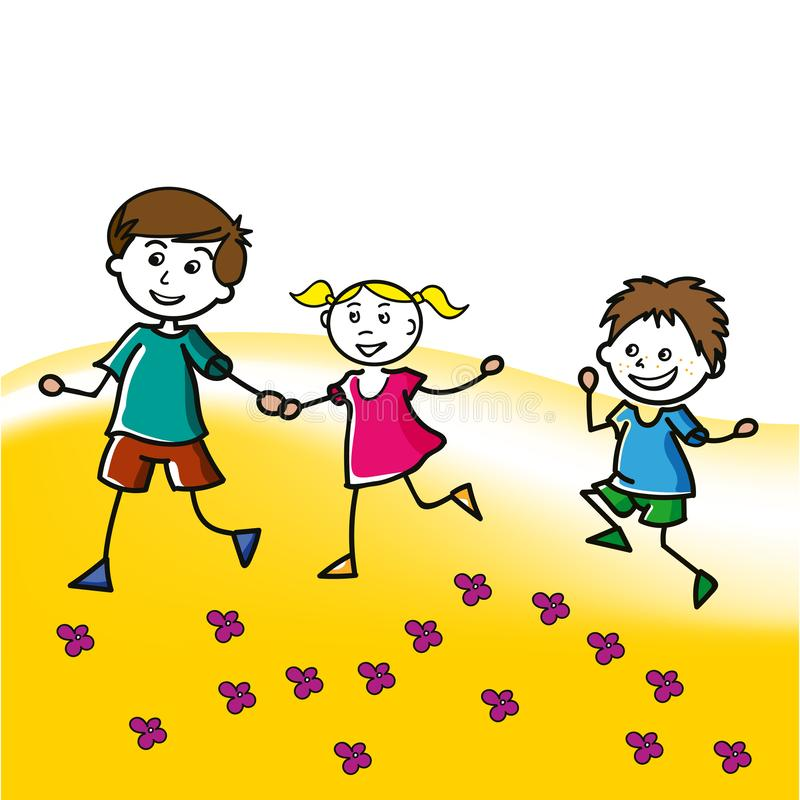 Hand drawn children walk on the lawn in the summer. Two little boys and one girl, vector illustration stock illustration