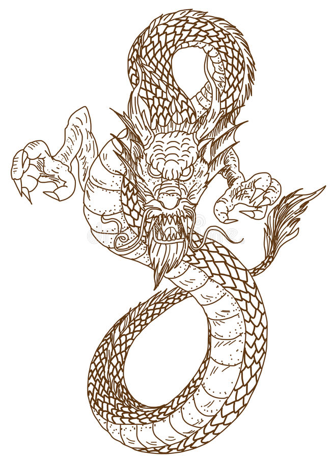 Hand Drawn Chinese Dragon Tattoo Design Stock Vector Illustration Of Character Pattern 95064615