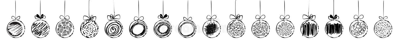 Hand drawn christmas ball collection isolated on white background stock illustration