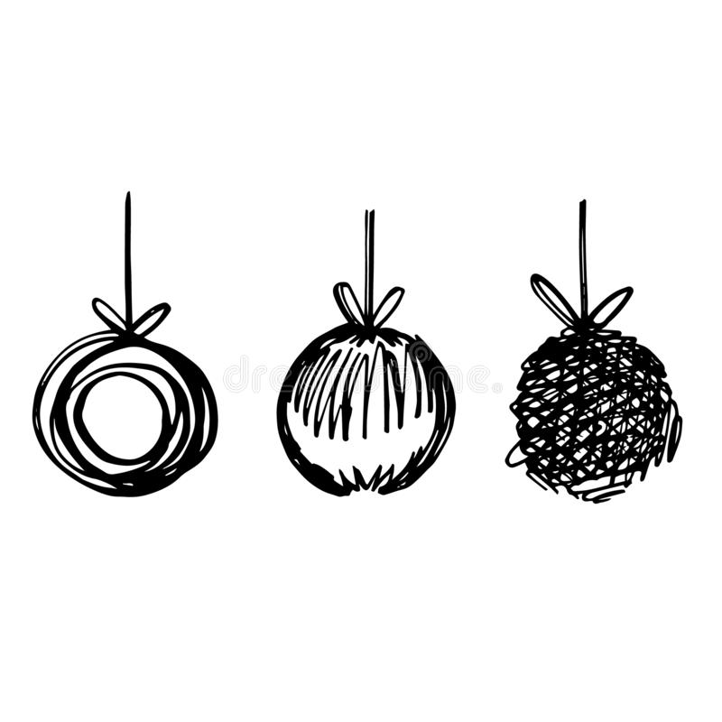 Hand drawn christmas ball illustration. Sketch black and white background illustration icon doodle. Greeting card stock illustration