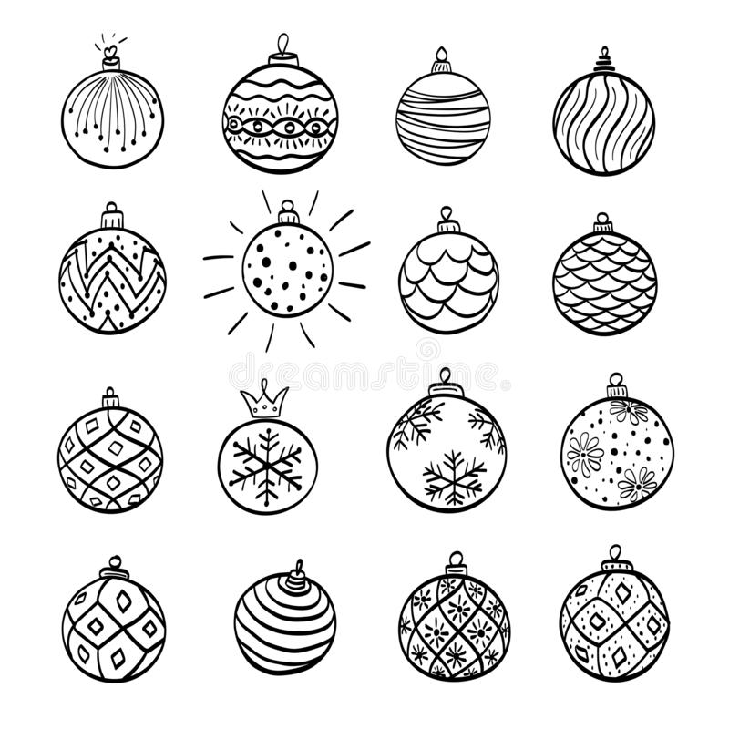 Hand drawn christmas ball isolated. Vector sketch black and white background illustration icon doodle.  royalty free illustration