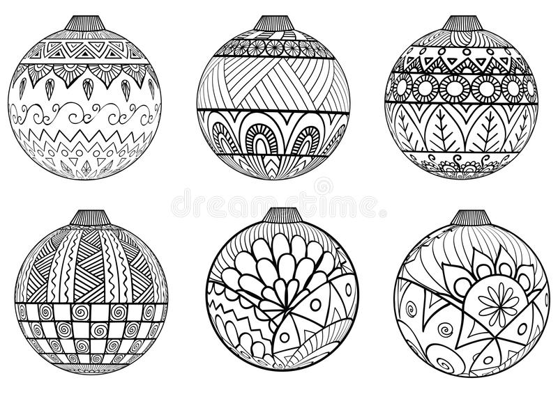 Download Hand Drawn Christmas Balls Zentangle Style For Coloring Book Stock Vector