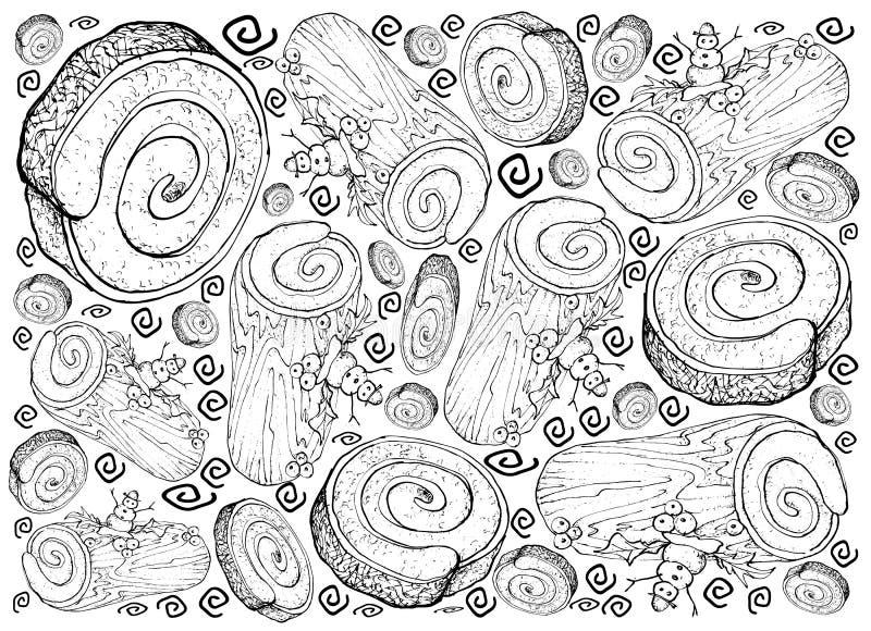 Hand Drawn Of Christmas Cake Or Yule Log Cake Background Stock ...