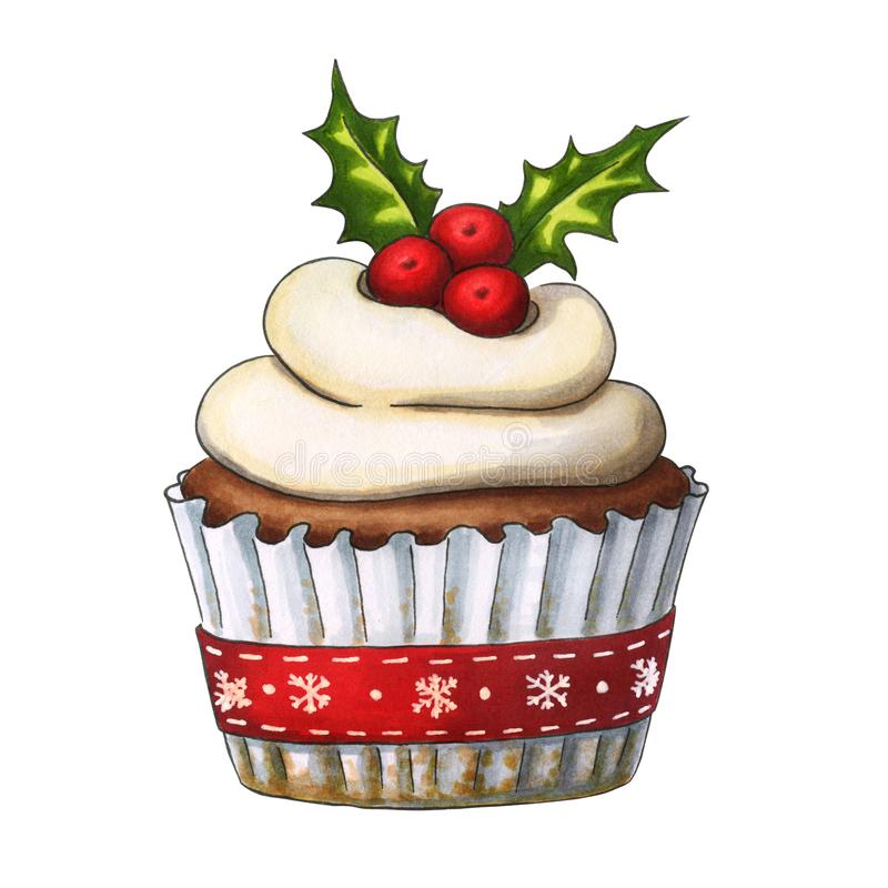 Hand drawn Christmas cupcake vector illustration