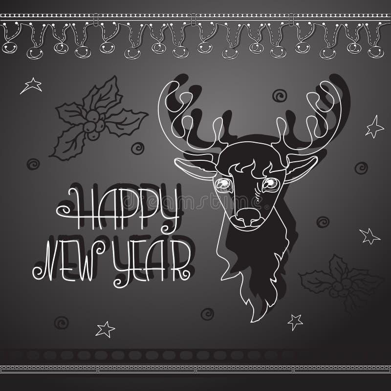 Hand drawn Christmas deer and handwritten words Happy New Year. Hand drawn cute Christmas deer, Xmas symbols and handwritten words Happy New Year. Winter vector illustration