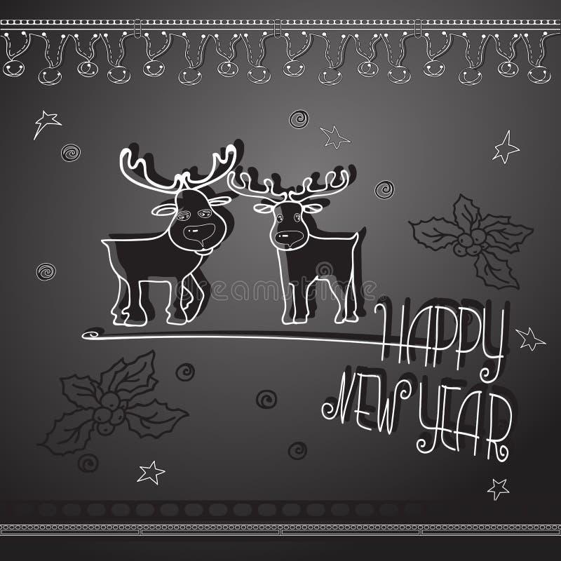 Hand drawn Christmas deers and handwritten words Happy New Year. Hand drawn cute Christmas deer, Xmas symbols and handwritten words Happy New Year. Winter vector illustration