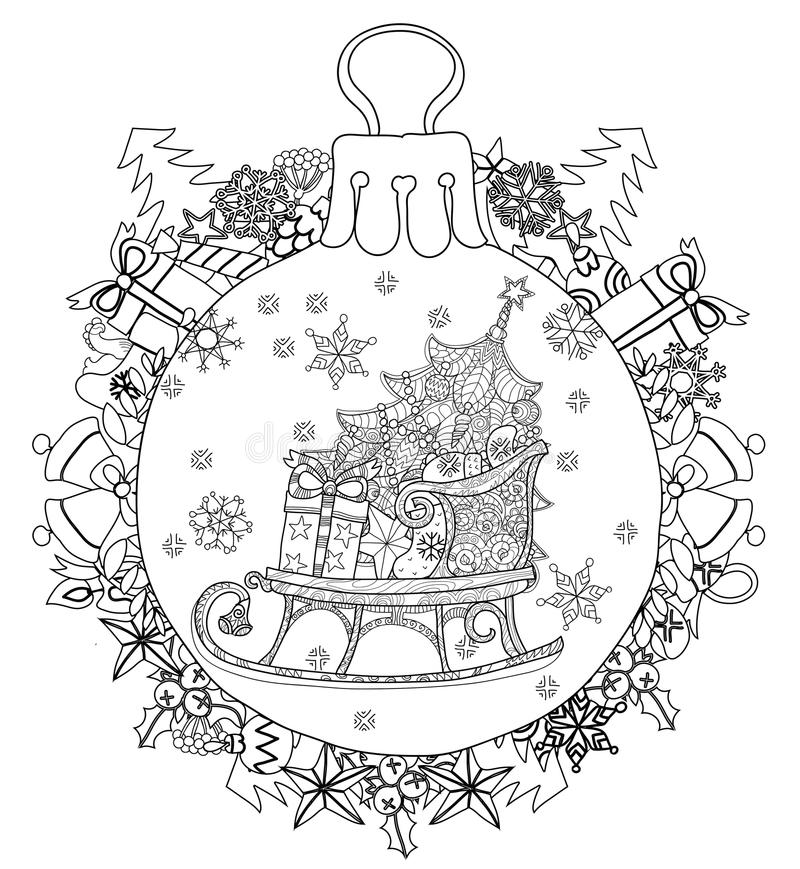 Hand drawn Christmas glass ball fir tree doodle royalty free illustration