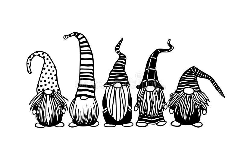 Hand drawn Christmas gnomes royalty free stock photography