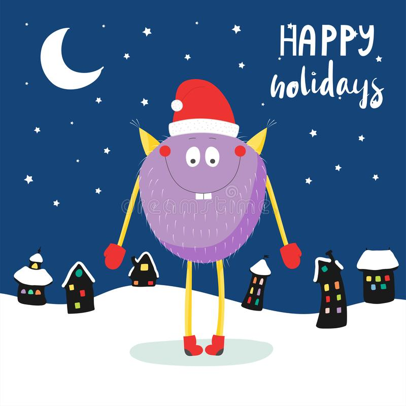Christmas card with cute funny monster royalty free illustration
