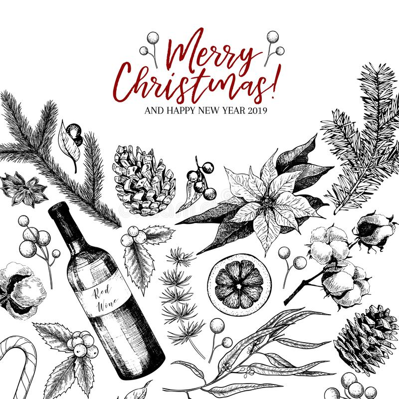 Hand drawn Christmas greeting card. Vector pine branch, fir, eucalyptus, holly, cotton, poinsettia, wine bottle. Xmas stock illustration