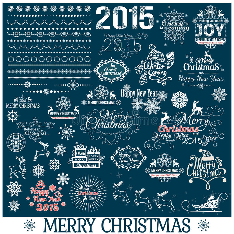 Hand Drawn Christmas And New Year Decoration Set royalty free illustration