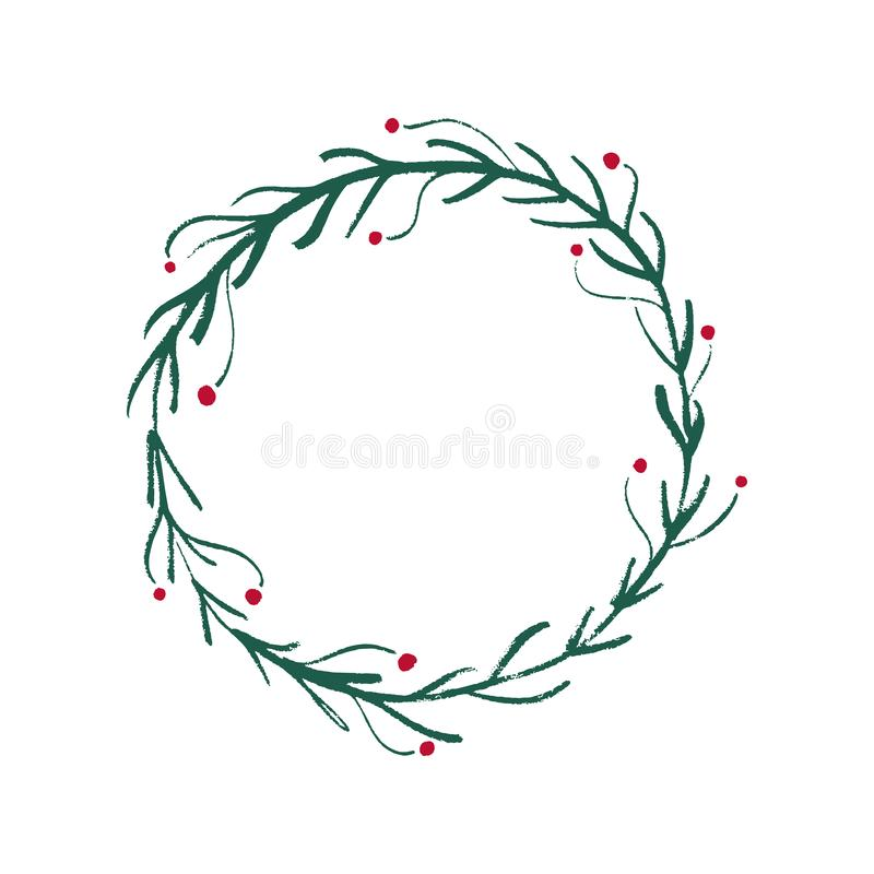 Hand drawn Christmas and New Year floral frame, vector art royalty free illustration