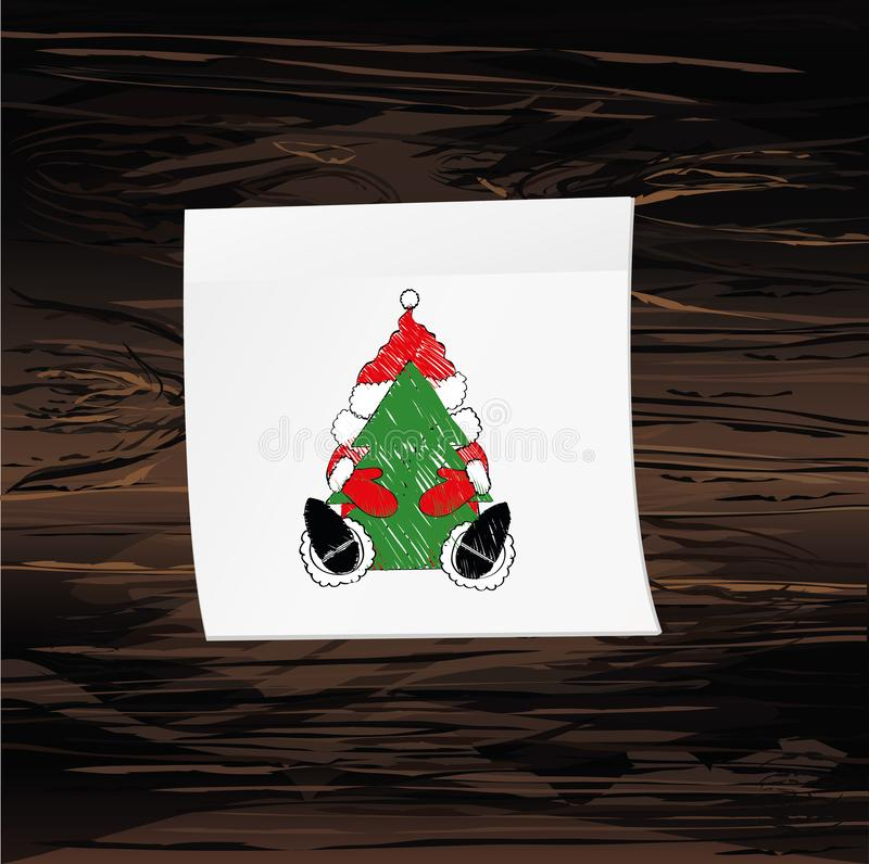 Hand-drawn christmas santa claus on yellow sticker and notepad. Vector on wooden background.  vector illustration
