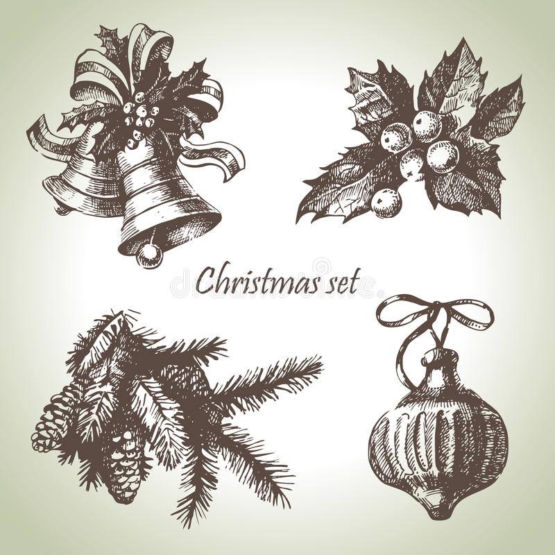 Hand Drawn Christmas Set Royalty Free Stock Photography
