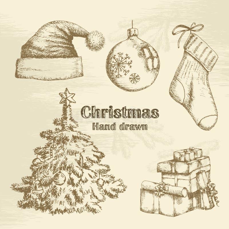 Hand drawn christmas set royalty free illustration