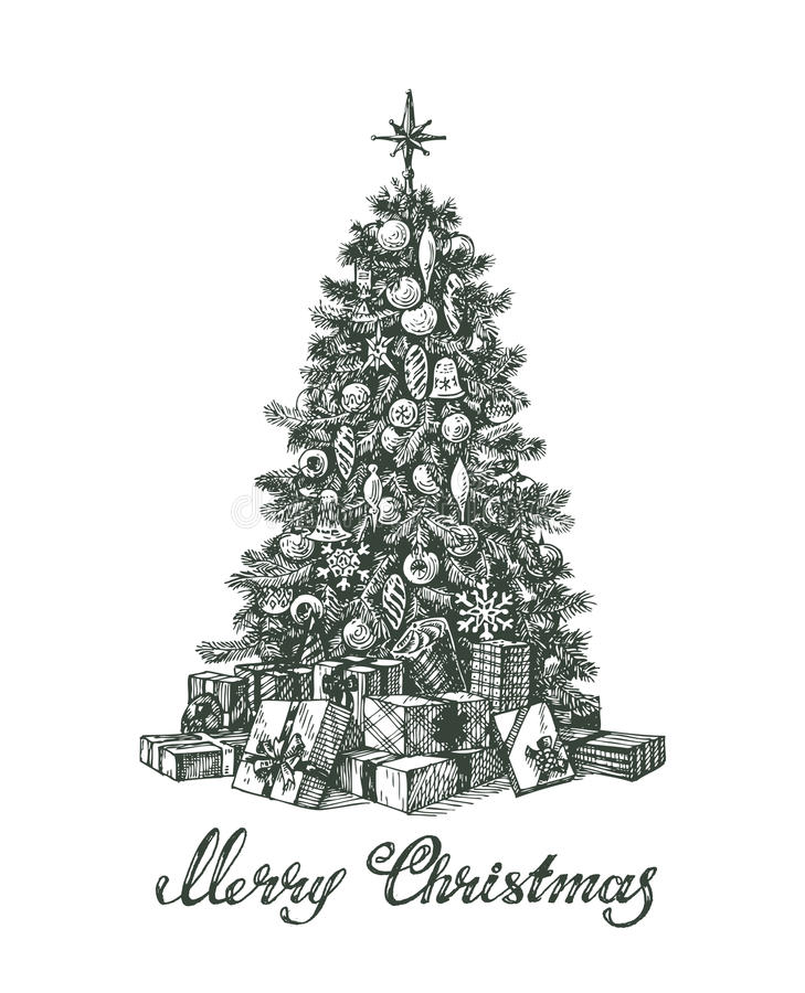 Hand drawn Christmas tree and gifts royalty free illustration