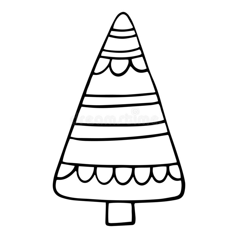 Hand drawn Christmas tree. Sketched illustrations of firs. Black ink and brush sketches of spruce for cards and package royalty free illustration