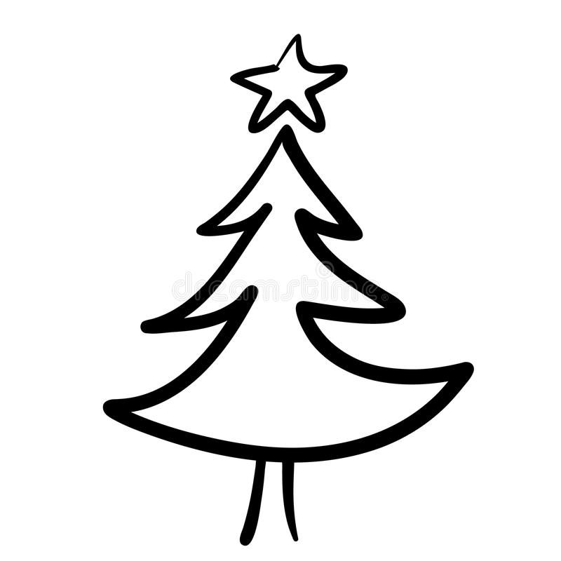 hand drawn christmas tree stock vector illustration of