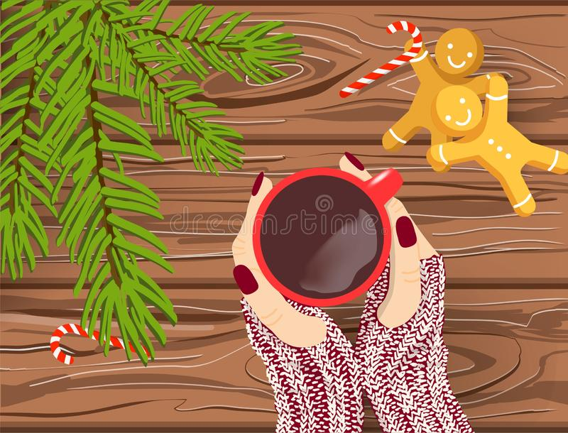 Hand drawn Christmas vector background, Hands in knitted gloves holding red cup of coffee on brown wooden table with chritmas tree stock illustration
