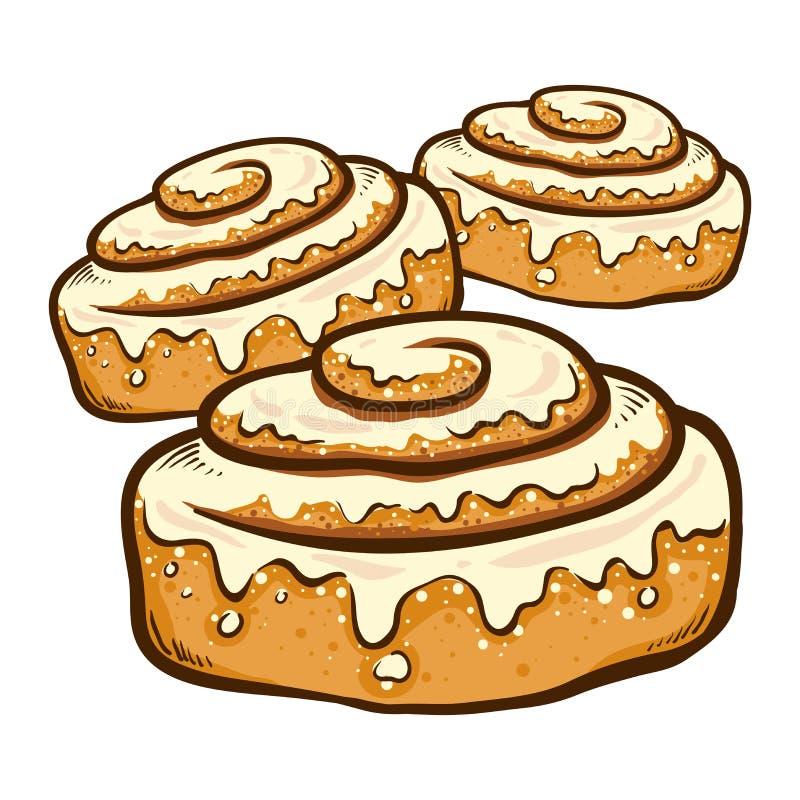 Free Hand Drawn Cinnamon Roll Buns Stock Photos - 126376523