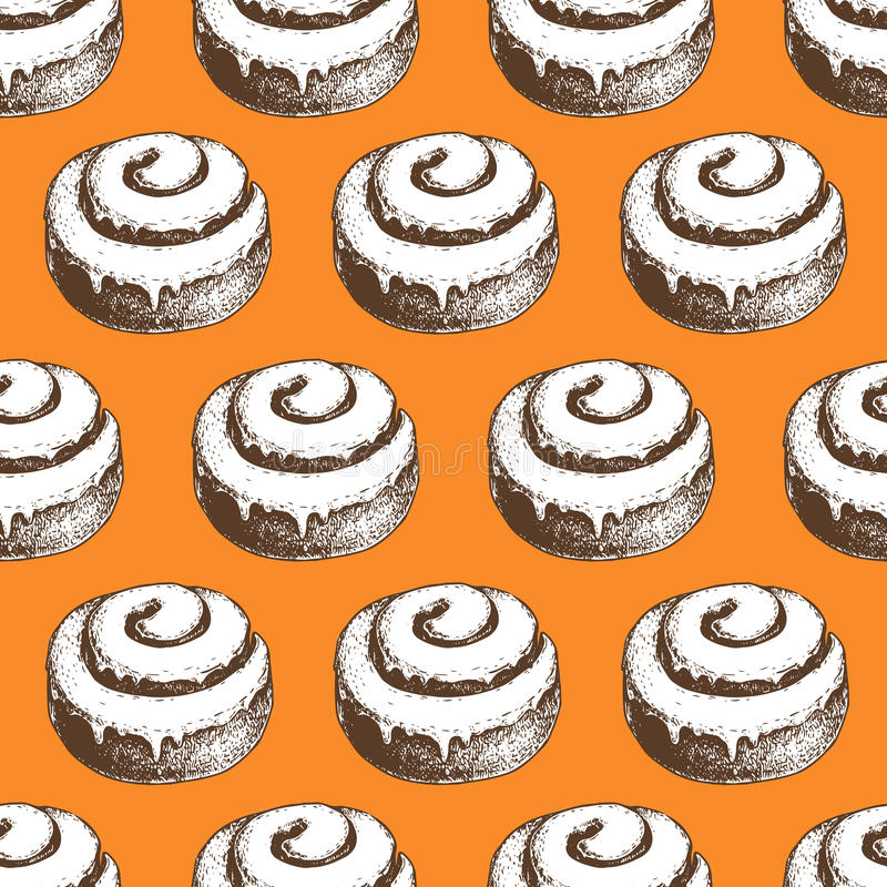 Hand drawn cinnamon roll buns seamless pattern. Orange background. royalty free illustration