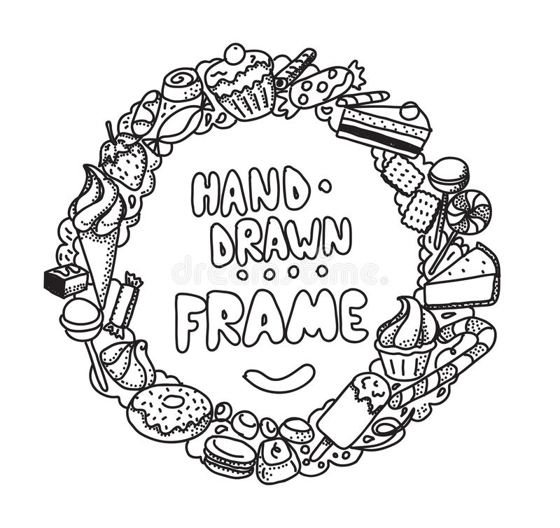 Hand drawn circle frame. Vector design. royalty free illustration