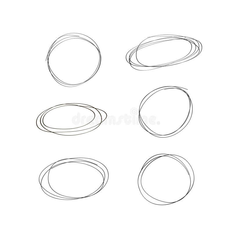 Hand drawn circle line sketch set. Vector circular scribble doodle. Vector illustration. royalty free illustration