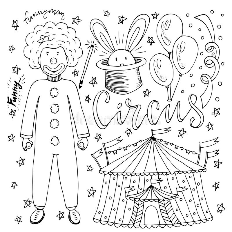 hand drawn circus collection clown balloon tent magic rabbit coloring book page kids