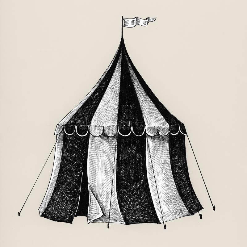Hand drawn circus tent isolated on background royalty free illustration