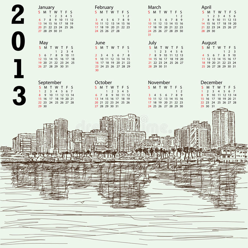 Hand-drawn cityscape 2013 kalender vector illustratie