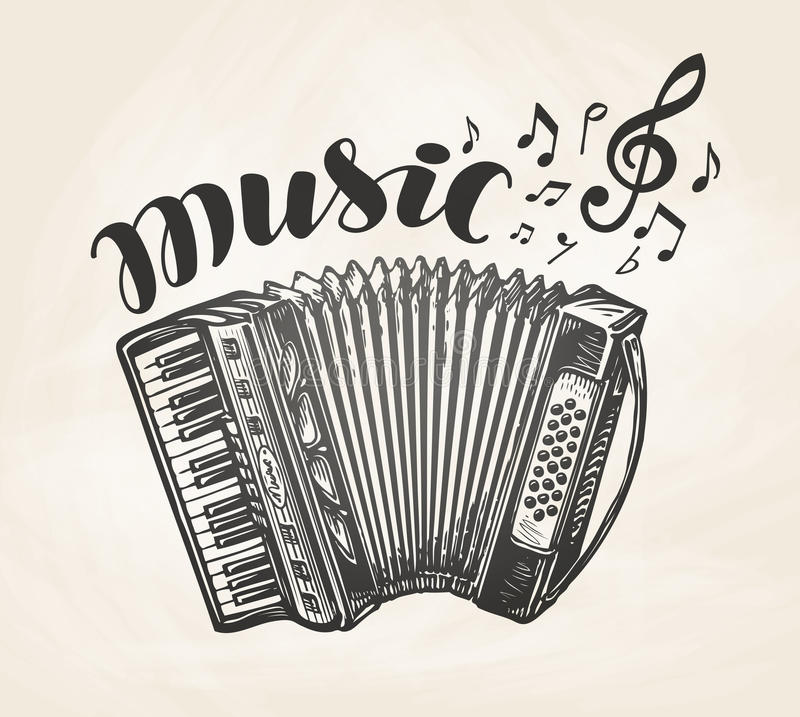 Hand drawn classic accordion. Vintage musical instrument. Music symbol, vector illustration vector illustration