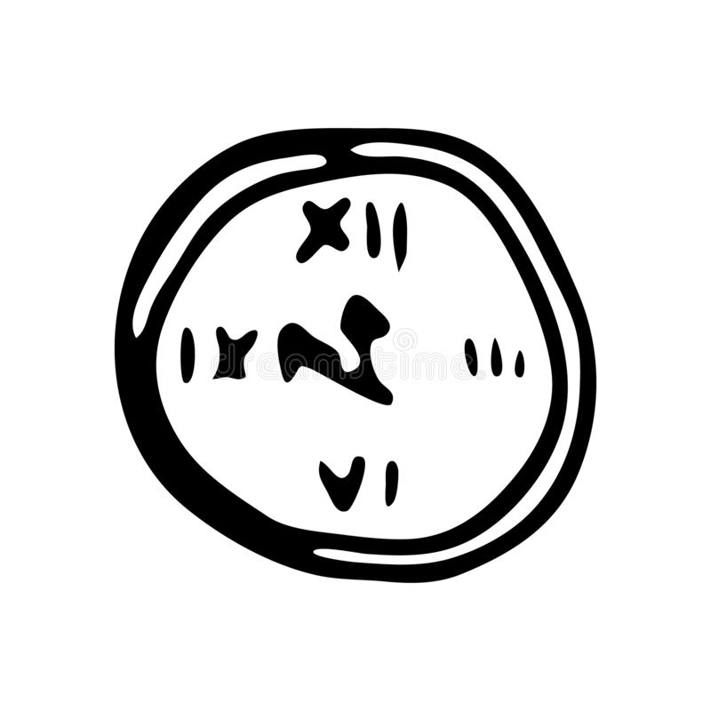 Hand drawn clock doodle. Sketch winter icon. Decoration element. Isolated on white background. Vector illustration royalty free illustration