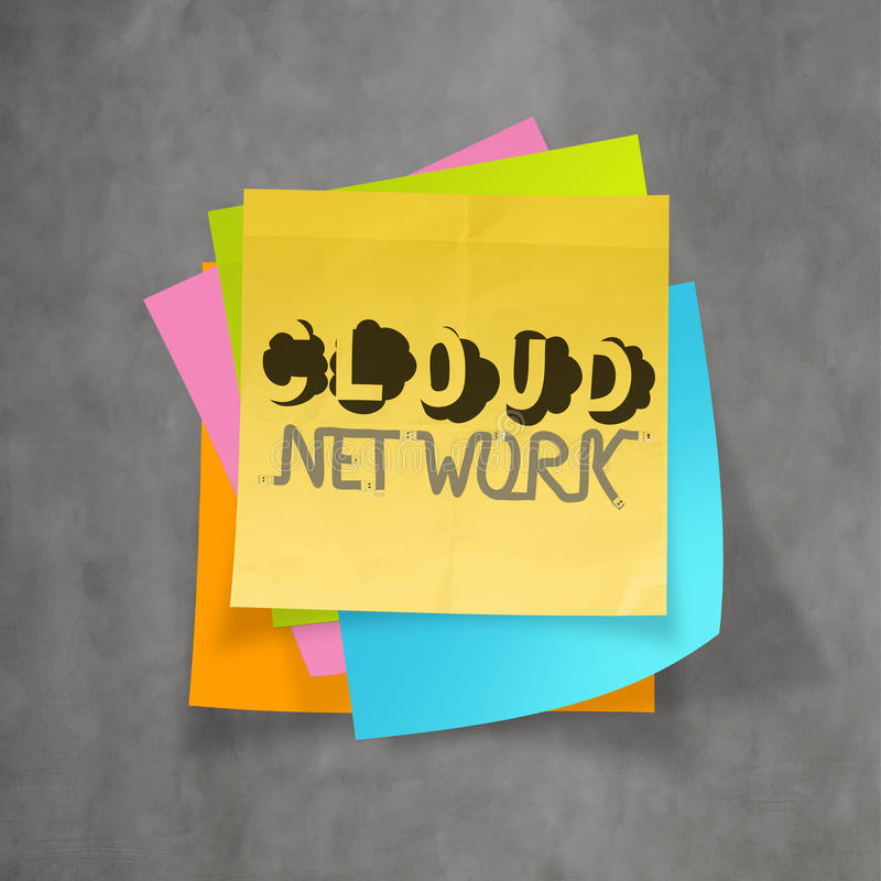 Hand drawn CLOUD NETWORK on sticky note. And texture background as concept stock photography