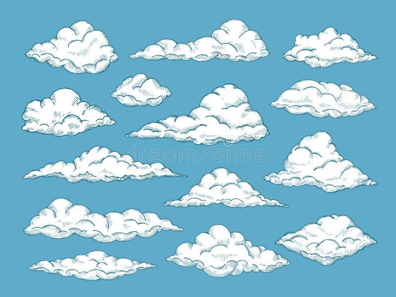 Hand drawn clouds. Pencil sketch sky cloudscape. Outline sketching cloud vintage vector engraved background. Cloudscape drawing, atmosphere doodle sketchy stock illustration
