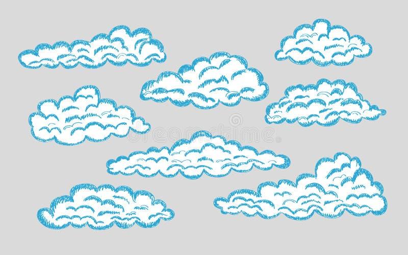 Hand drawn clouds. Pencil sketch sky cloudscape. Outline sketching cloud vintage vector engraved background. Cloudscape drawing, atmosphere doodle sketchy vector illustration