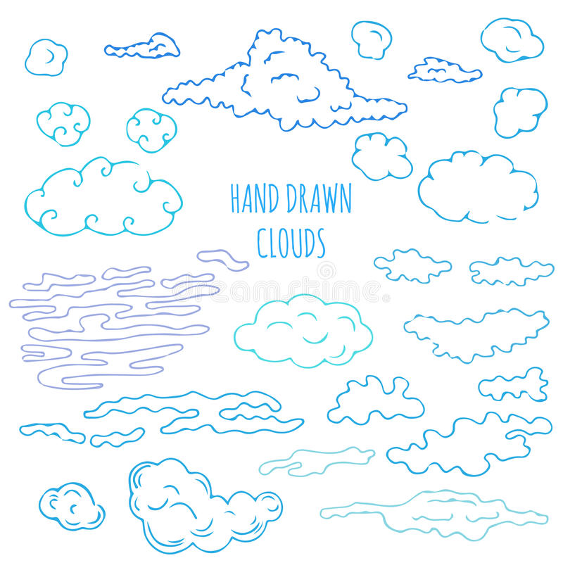 Hand drawn clouds stock illustration