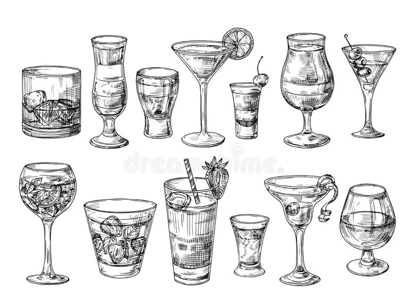 Hand drawn cocktail. Alcoholic drinks in glasses. Sketch juice, margarita martini. Cocktail with rum, gin whiskey vector vector illustration