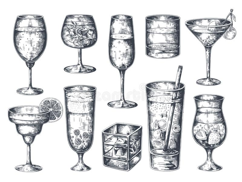 Hand drawn cocktails. Glasses with alcoholic drinks tonic and lemonade, martini gin rum and tropical beverages. Vector royalty free illustration