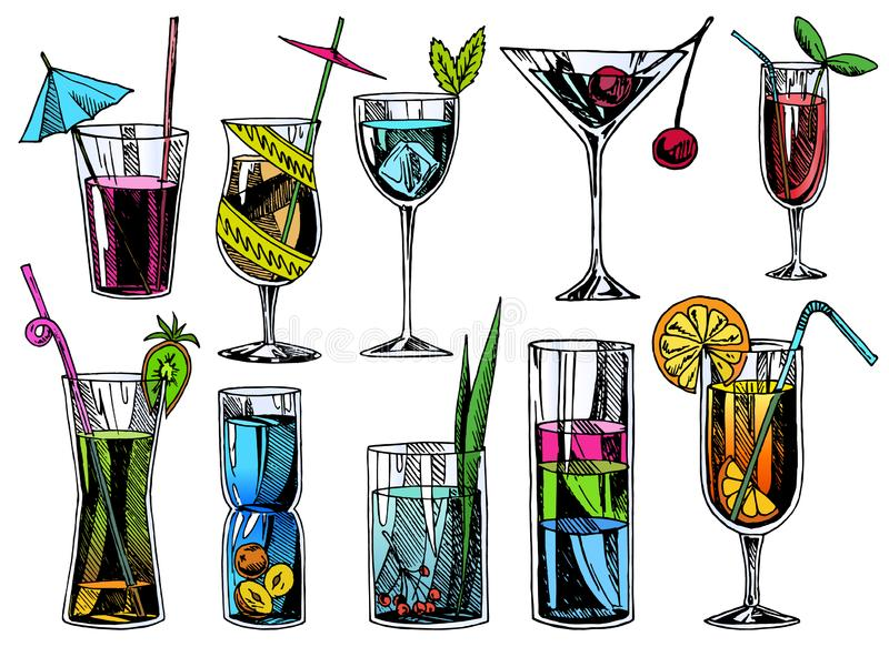 Hand drawn cocktails. Vintage glasses with liquors and alcoholic drinks, summer drinks sketch menu. Vector tropical vector illustration