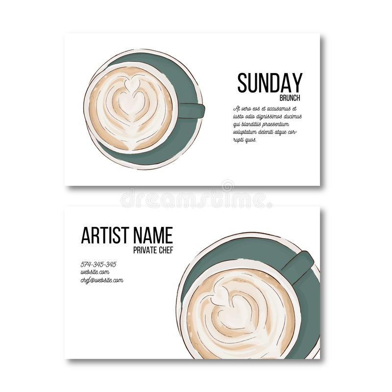 Hand drawn coffee cup business card. Hot drink flyer, personal decoration. Irish coffee latte cool desidn. Unique personal arabica. Breakfast illustration royalty free illustration