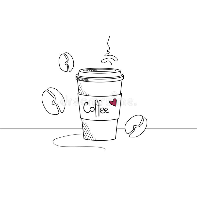 Hand drawn coffee cup to go isolated royalty free stock photo