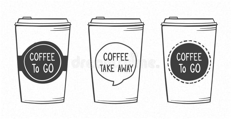 Hand Drawn Coffee Cups royalty free illustration