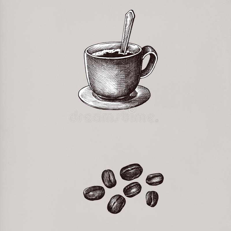 Hand drawn coffee drinks vintage drawing style vector illustration