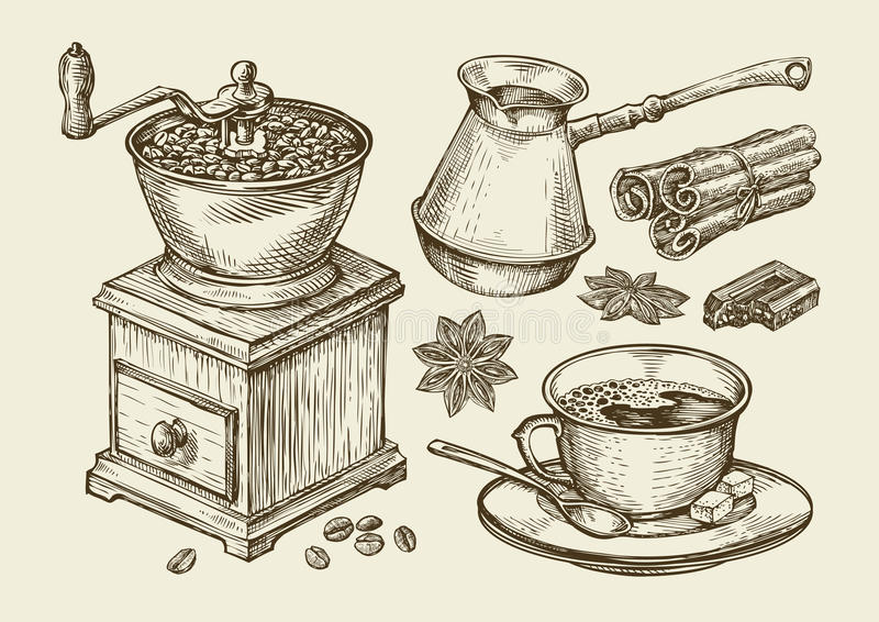 Hand drawn coffee grinder, cup, beans, star anise, cinnamon, chocolate, cezve, drink. Sketch vector illustration vector illustration