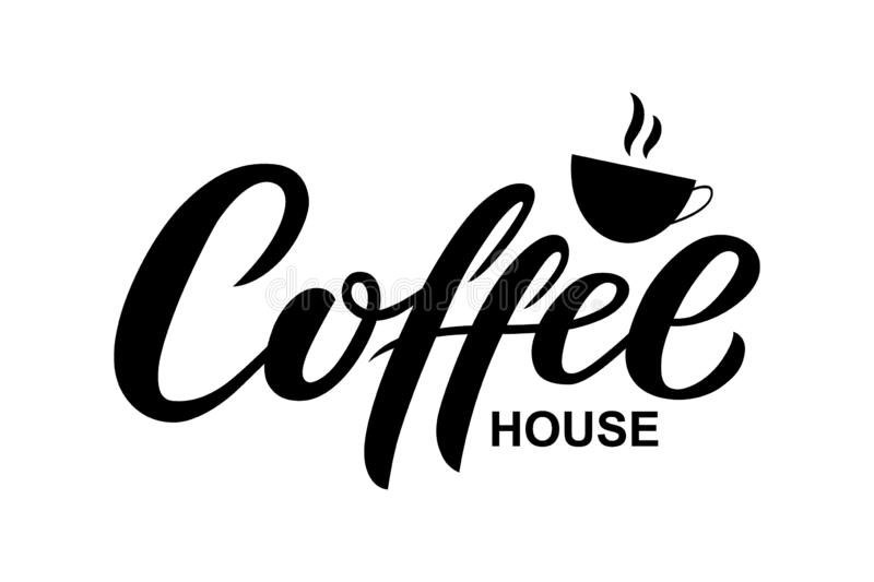 Hand drawn Coffee house text, typography lettering poster, calligraphy logo. Coffee drink logotype, badge. Coffee shop stock illustration