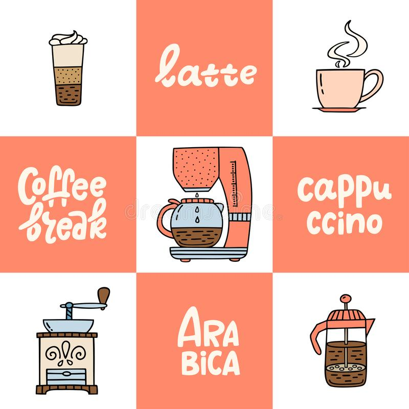 Hand drawn coffee maker, coffe machine, American press, grinder, latte, cappucino. Collection of coffee time symbols and. Handwritten phrases. Design elements vector illustration